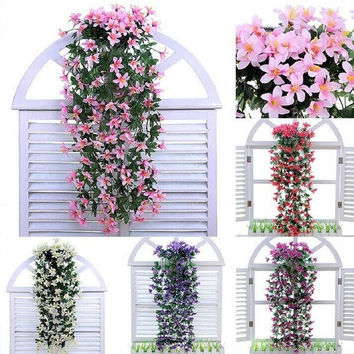 Home Decor Silk Flower Artificial Lily Flowers Hanging Plants Garland Vine Party Wedding Supplies = 1933068356