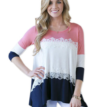 Block Lace Sleeve Knitted Shirt
