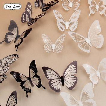 18PCS/lot 3D Crystal Butterfly Wall Sticker Art Decal Home Decor for Mural Stickers Decal DIY PVC Party Wedding Decoration Decal