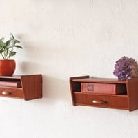 Danish Teak Bedside Tables End Tables Storage Drawers