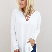 Baby, It's Cold Outside Lace-Up Sweater {Cream}