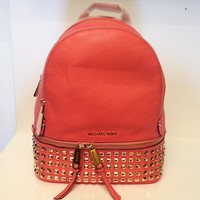 Michael Kors Rhea Women's Small Studded Backpack Bag Leather (One Size US Women, Pink Grapefruit)