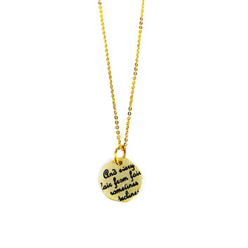Gold Charm Necklace - And Every Fair From Fair Sometimes Declines, Quote, Shakespeare, Gift for Her, Delicate, Dainty Necklace, Minimalist