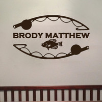 Personalized Fishing Boys Room Vinyl Wall Art Decal