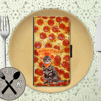 Pizza Cat Funny Hat Tumblr Inspired Pepperoni Cool Wallet Phone Case For The iPhone 4 and 4s and iPhone 5 and 5s and 5c iPhone 6 and 6 Plus