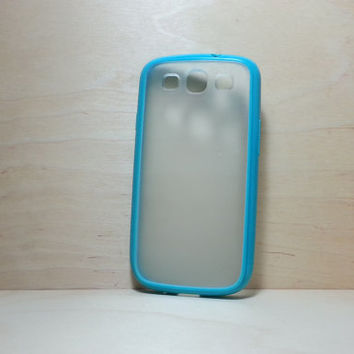 Samsung Galaxy S3 Case Silicone Bumper and Translucent Frosted Hard Plastic Back - Turquoise