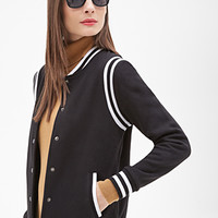 FOREVER 21 Knit Varsity Jacket Black/White