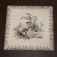 Vintage 1885 Mintons China Works Stoke On Trent Ceramic Tile With Rural Scene And Floral Border