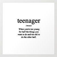 Teenager. Art Print by Sjaefashion
