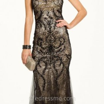 Floral Overlay Sheath Prom Gown by Camille La Vie