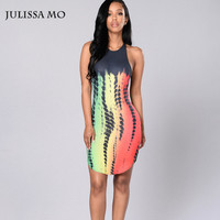 Women Summer Dress 2016 Sleeveless Bodycon Dresses Tie Dye Print Side Split Midi Party Dress Night Club Vestidos