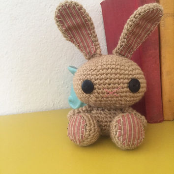 Amigurumi bunny, crochet bunny, tan bunny, bunny tail, rabbit doll, amigurumi animal, crochet amigurumi, ready to ship, handmade, kawaii