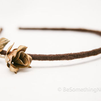 Vintage gold rose headband, women hair accessory