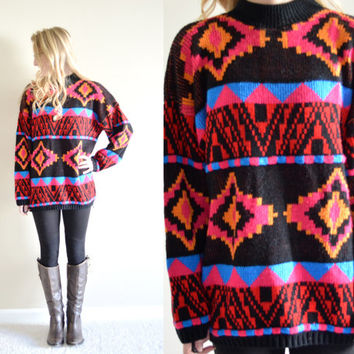 SALE SALE Vintage Croquet Club Aztec Colorful Sweater Womens Pink Red Blue Tribal Pullover Hipster Sweater Tumblr Pullover Medium M Cozy Hip