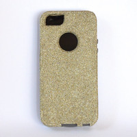 Custom iPhone 5 Glitter Otterbox Commuter Cute Case,  Custom  Glitter White Gold / Grey Otterbox Color Cover for iPhone 5
