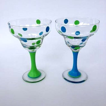 Polka dot margarita glass with painted stem SET of 2
