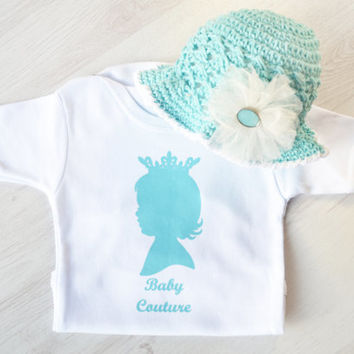Baby Girl Onesuit with Matching Crochet Cotton Sunhat in Aqua- Baby Coming Home Outfit - Stylish Baby Clothes