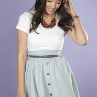 Denim High Waisted Button Skirt