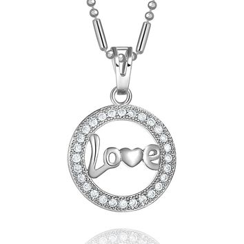 Small Cute Eternity Love Circle Heart Accent Silver-Tone Sparkling Crystals Amulet 18 Inch Necklace