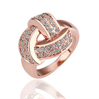 Weave Diamond 18K Rose Gold Plated Ring
