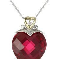 """Sterling Silver and 14k Yellow Gold Created Ruby Heart and Diamond-Accent Pendant Necklace, (.006 cttw, I-J Color, I2-I3 Clarity), 18"""""""