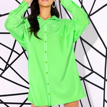 Neon Green Patch Pocket Button Fly Top