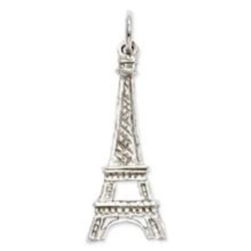 Solid Polished Eiffel Tower Charm in 14k White Gold
