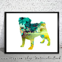 Pug 9 Watercolor Print, Children's Wall, Art Home Decor, dog watercolor, watercolor painting, pug art, animal watercolor, pug print, pug art