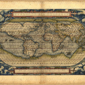 Map Of World From The 1500s 089 Earth Ancient Old World Map Exploring  Sailing Vintage Digital Image Download Travel International Continent