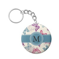 Teal Red Purple Butterflies on Tan with Monogram Basic Round Button Keychain