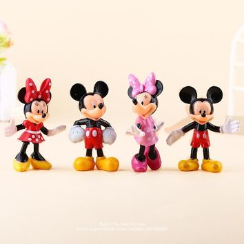 Disney Mickey Mouse Minnie 4pcs/set 7.5cm Action Figure Posture Anime Decoration Collection Figurine Toy model for children gift