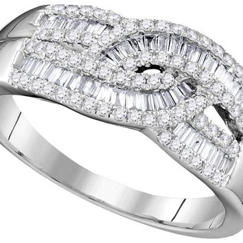 10k White Gold Womens Round Baguette Diamond Cocktail Band Ring 5/8 Cttw