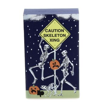 Cats Meow Village CAUTION SKELETON XING Wood Halloween Railroad 19633
