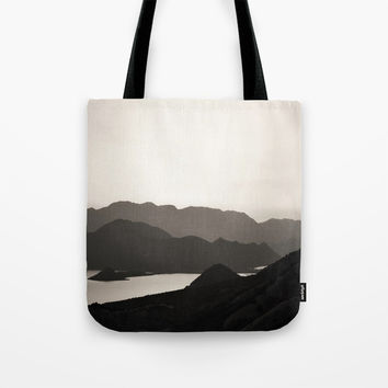 Mountains and a lake Tote Bag by ARTbyJWP