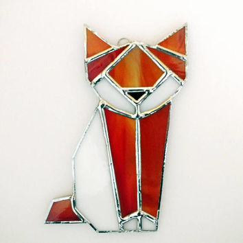 Fox Stained Glass Suncatcher - Red Fox Ornament - Stained Glass Animal - Origami Fox - Geometric Art - Glass Art - Animal Lover Gift