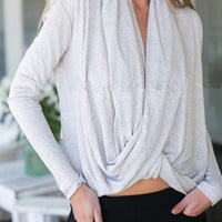 Gray Drape Plunge Long Sleeve T-shirt