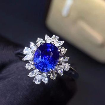 Fine Jewelry Real 18K Rose Gold 100% Natural 1.17ct Blue Sapphire Gemstone 18k Gold Diamonds Stone Female Ring for Women Rings