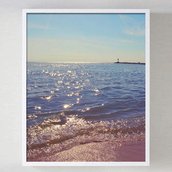 Ocean Beach Photo Coastal Photography Beach House Decor Wall Art Blue Ocean lighthouse