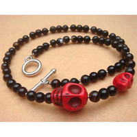 Black Agate Red Turquoise Skull Necklace by turquoisecity on Etsy