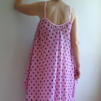 Maxi Dress in Pink with Black Dots, Summer Dress, Pink Dress, Beach Dress, Long Dress, Sleeveless Dress, Maxi Dress, Loose Style Dress