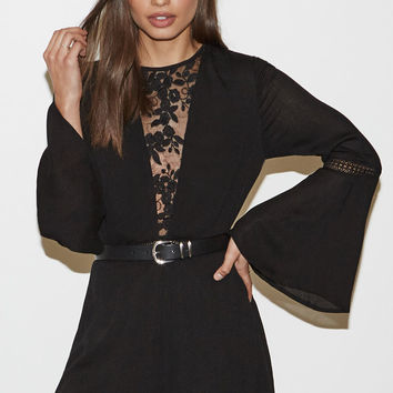 Kendall and Kylie Lace Inset Long Sleeve Romper at PacSun.com