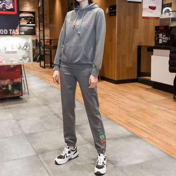 """""""Adidas"""" Women Casual Fashion Multicolor Letter Embroidery Long Sleeve Hoodie Trousers Set Two-Piece Sportswear"""