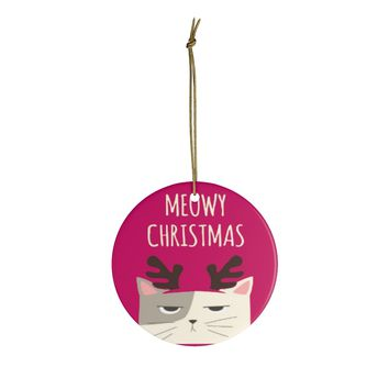 Ceramic Ornaments For Cat Mom & Dad - Meowy Christmas Ornament Holiday Gift For Cat Lovers