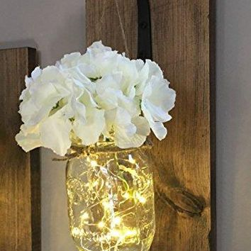 Rustic Hanging Mason Jar Sconce with LED Fairy Light, Mason Jar Light, Wrought Iron Hooks, Silk Hydrangea Flower, LED Strip Light with Batteries Included, Rustic Home Decor Made in USA (Single Sconce)