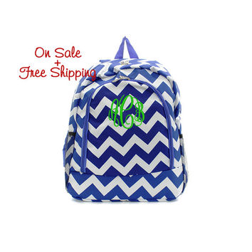 On Sale with Free Shipping 16 Inch Blue and White Chevron Print School Backpack Free Monogramming With Purchase