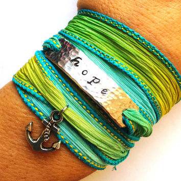 Hope Anchor Hand Stamped Silk Wrap Yoga Bracelet Beach Jewelry