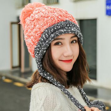 2017 Autumn Winter New Fashion Color Hair Ball Sleeve Cap Ladies Knitted Hat Hats Ear for Women