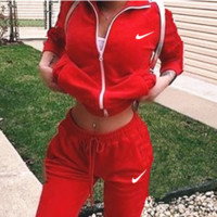 Nike :Fashion Letter Long Sleeve Shirt Sweater Pants Sweatpants Set Two-Piece Sportswear Red