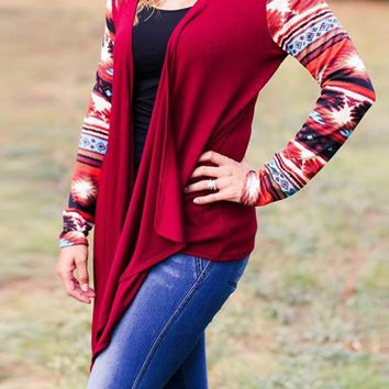 Red Patchwork Pattern Collarless Casual Cotton Cardigan Sweater