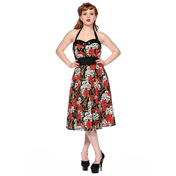 50s Retro Rockabilly Love Black Skulls & Red Roses Print Party Dress